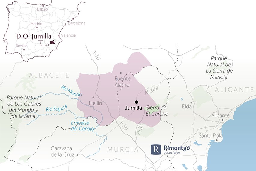 Map of the Designation of Origin Jumilla in the community of Murcia