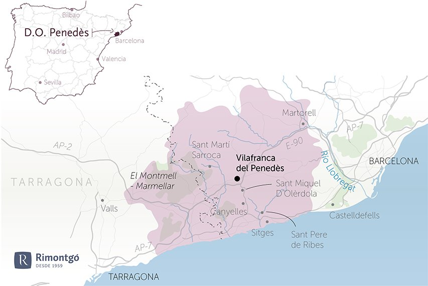 map wineries for sale with do penedes