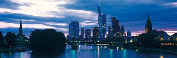 Frankfurt am Main Central Business District skyline at dusk