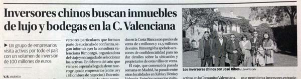 Article on the visit of Chinese investors in Levante-EMV