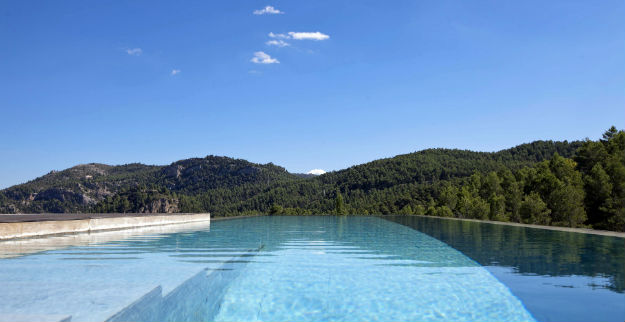Infinity pool with views of the Sierra