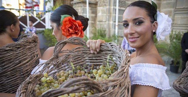 Local girl carries grapes for treading at the Jerez wine festival